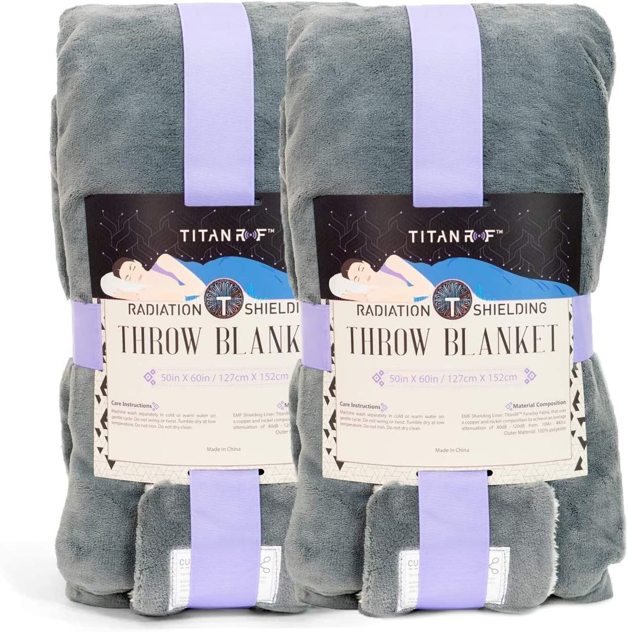 """[2-Pack] Mission Darkness TitanRF Radiation Shielding Throw Blanket 50"""" x 60"""" (127cm x 152cm) Ultra-Soft Materials Reversible Gray and White Blanket with Lab Certified EMF Radiation Protection Liner: Kitchen & Dining"""