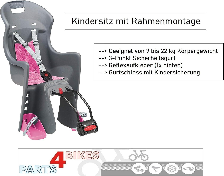 Asiento Infantil para Rueda Trasera con cintur/ón de Seguridad de 3 Puntos P4B