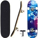 Geelife Skateboard 7 Layers Decks 31'x8' Pro Complete Skate Board Maple Wood Longboards for Teens Adults Beginners Girls…