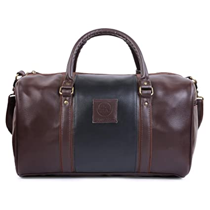 2e1fab7d2442 Hyper Adam Brown 18 Inch Leather Rite Travel Duffel Bag with 2 Side  Pockets  Amazon.in  Sports