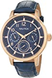 Nautica Men's 'NCT 15 MULTI II' Quartz Stainless Steel and Leather Casual Watch, Color:Blue (Model: NAD15523G)