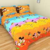 Tanvi Arts 3D Micky Mouse Cartoon Printed Double Bedsheet With 2 Pillow Covers (Orange)