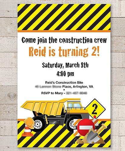 amazon com construction birthday invitations dump truck birthday