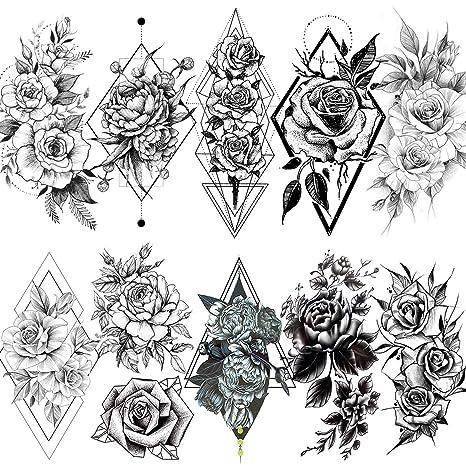 LAROI 10 Hojas Geométrica Rosa Peonía Estilo Adultos Tatuajes ...