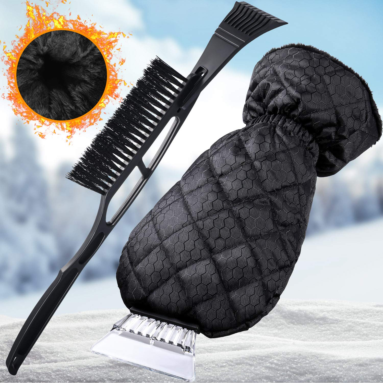Frienda 2 Pieces Ice Scraper Mitt Snow Waterproof Remover and Black Snow Brush with Windshield Ice Snow Frost Scrapers for Car Roof Bumpers Windshield