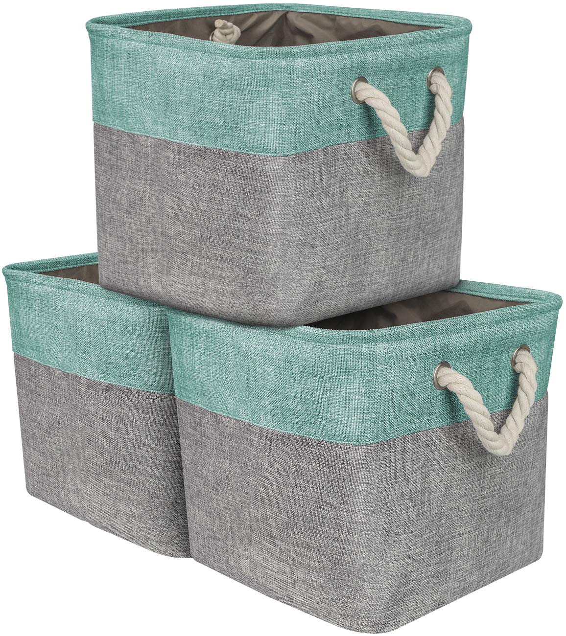 Sorbus Storage Large Basket Set [3-Pack] Big Rectangular Fabric Collapsible Organizer Bin Cotton Rope Carry Handles Linens, Towels, Toys, Clothes, Kids Room, Nursery (Rope Basket - Teal)
