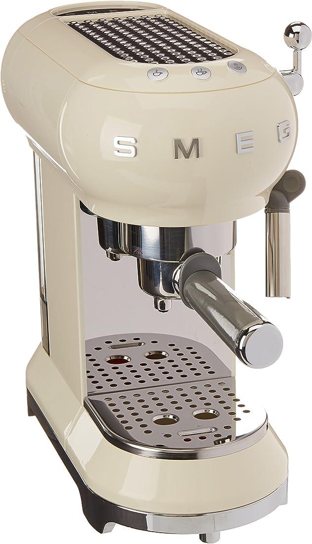 Smeg macchina da caffè espresso ecf01creu, 2 cups, color crema stile retrò anni `50 146872
