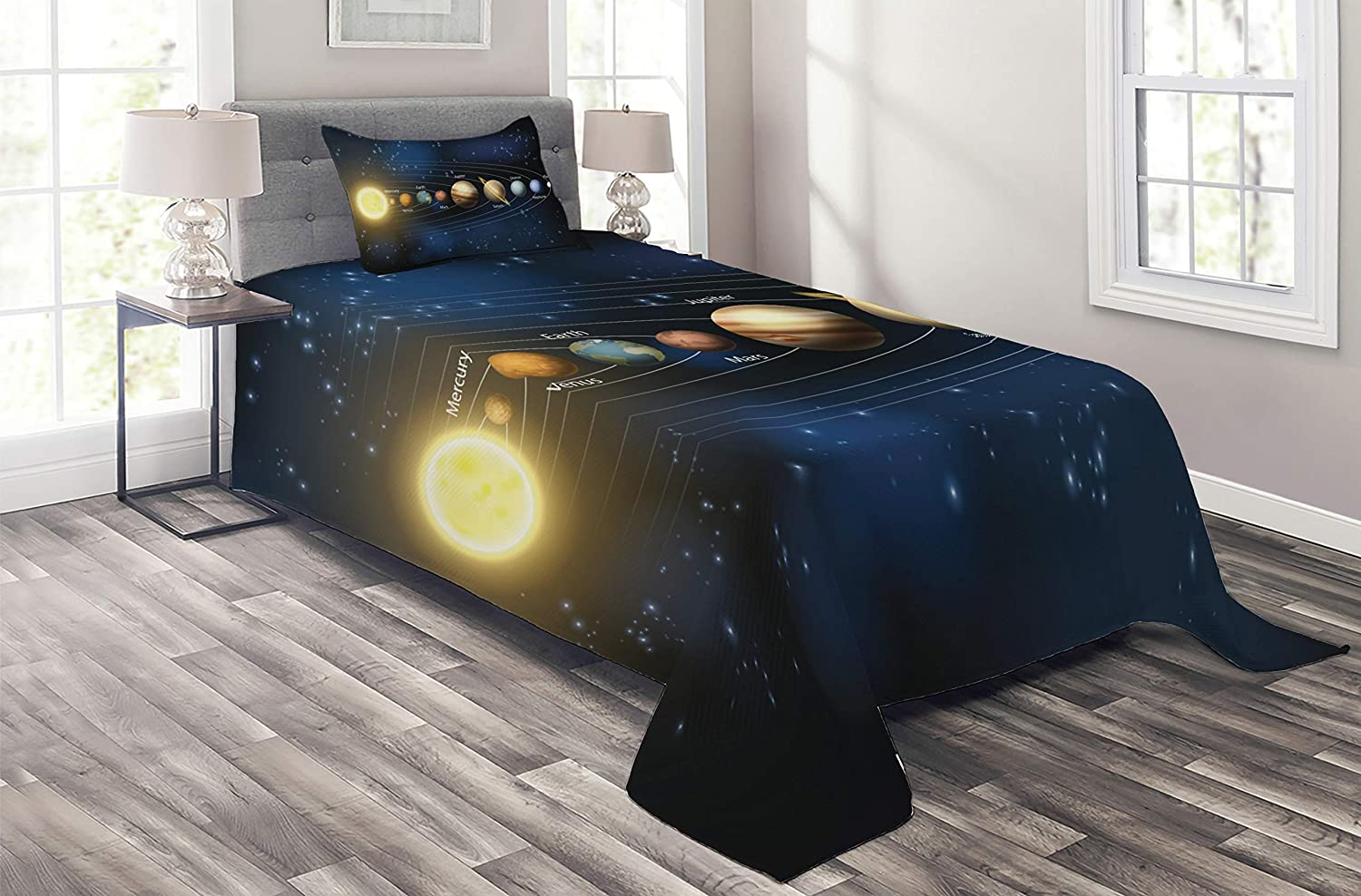 Lunarable Galaxy Coverlet Set Twin Size, Realistic and Scientific Illustration of The Planets of Solar System in Milky Way
