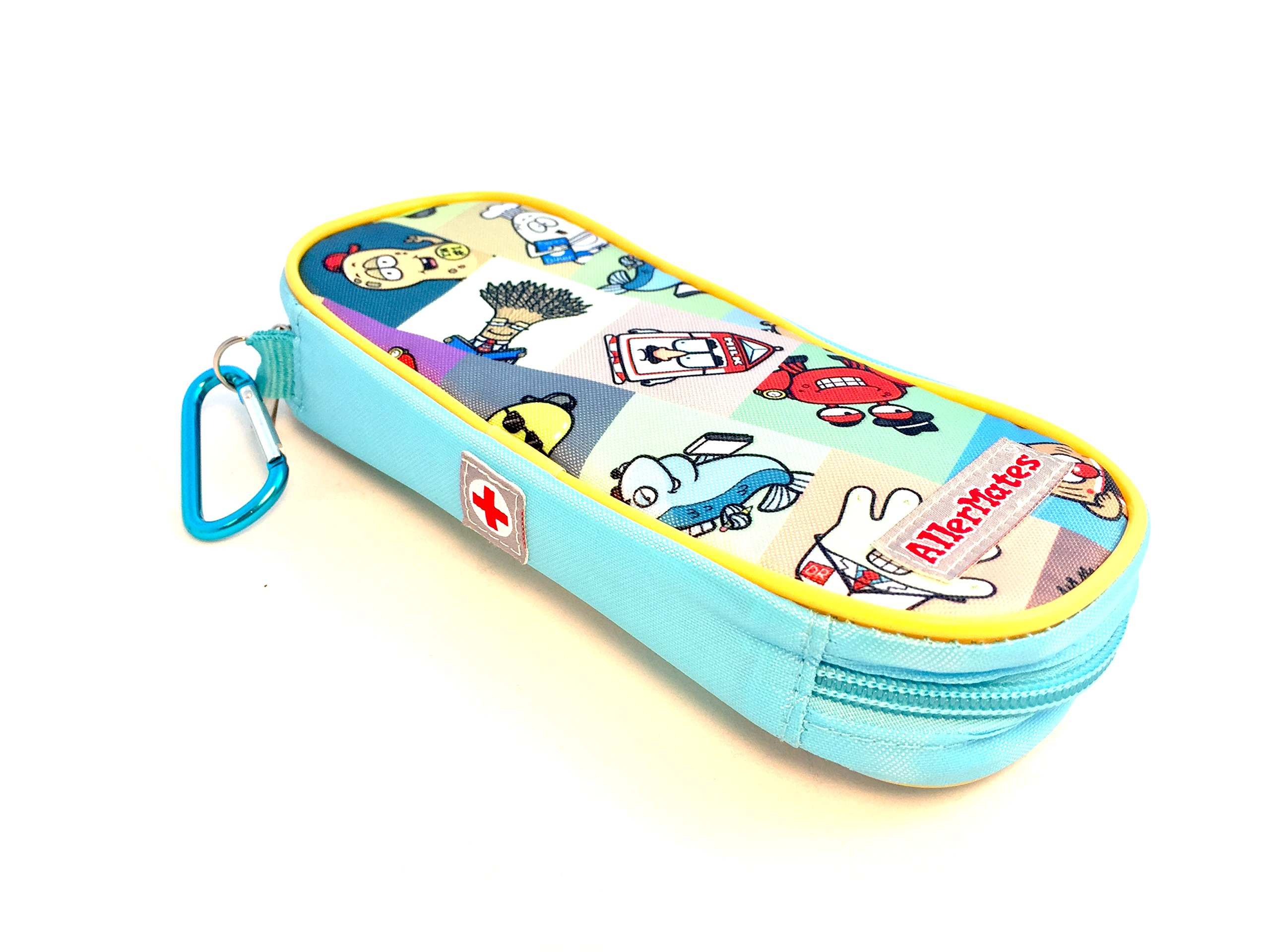 AllerMates - Allergy Medicine Carrying Case for EpiPen or Auvi-Q auto-injectors: Squares Pattern - Epipen Case by Allermates