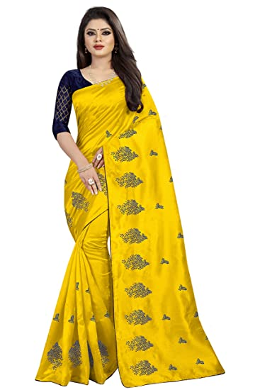 b935bd6e05 Shailaja Sarees Women's Paper Silk Embroidery Tree Work Yellow Color Sari  With Banglori Silk Blue Color Work Un Stitched Blouse Piece: Amazon.in:  Clothing & ...