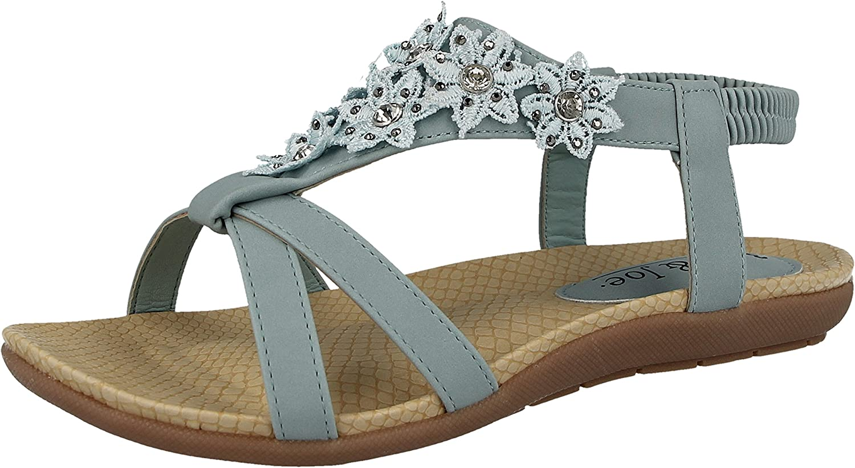 Jo /& Joe Ladies Faux Leather Peep Toe Sling Back T-Bar Flower Fashion Flat Diamante Flip Flop Sandals Size 3-8