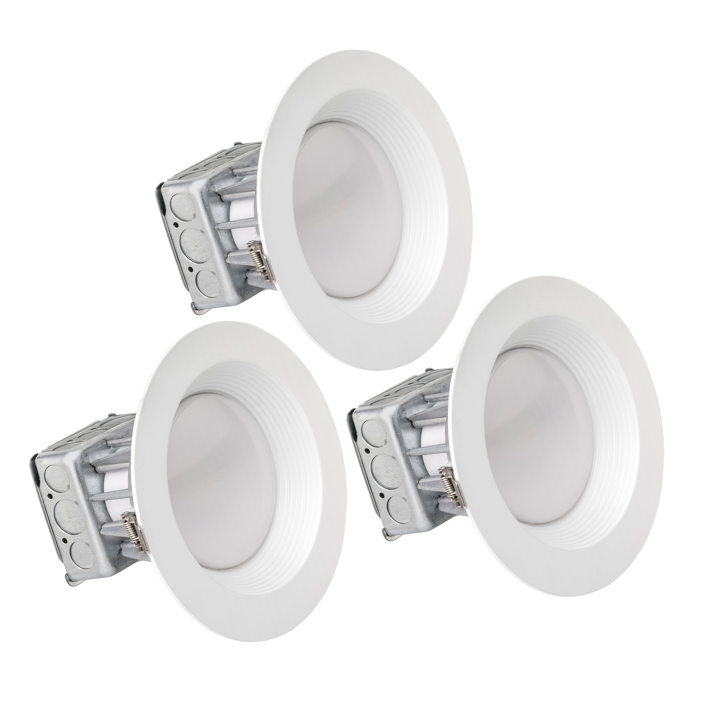 Pack of 3 LEDQuant 8 Inch Junction Box LED Downlight, 25W 150W Equivalent, 4000K Cool White, ENERGY STAR, 2050 Lumens, Wet Rated, Recessed Ceiling Light, 120V, No Can Needed, ETL (4000K (Cool White))