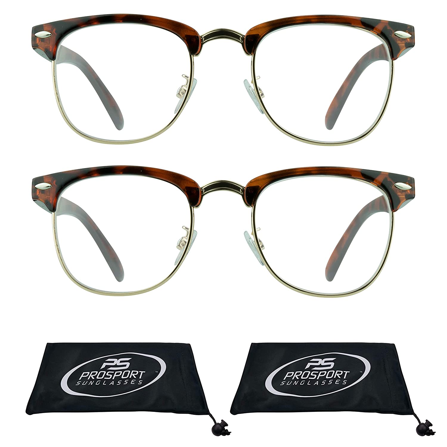 c47c43e84f Amazon.com  Horn Rimmed Reading Glasses Vintage Clubmaster Semi Rimless for  Men and Women. 2 Pairs  Health   Personal Care