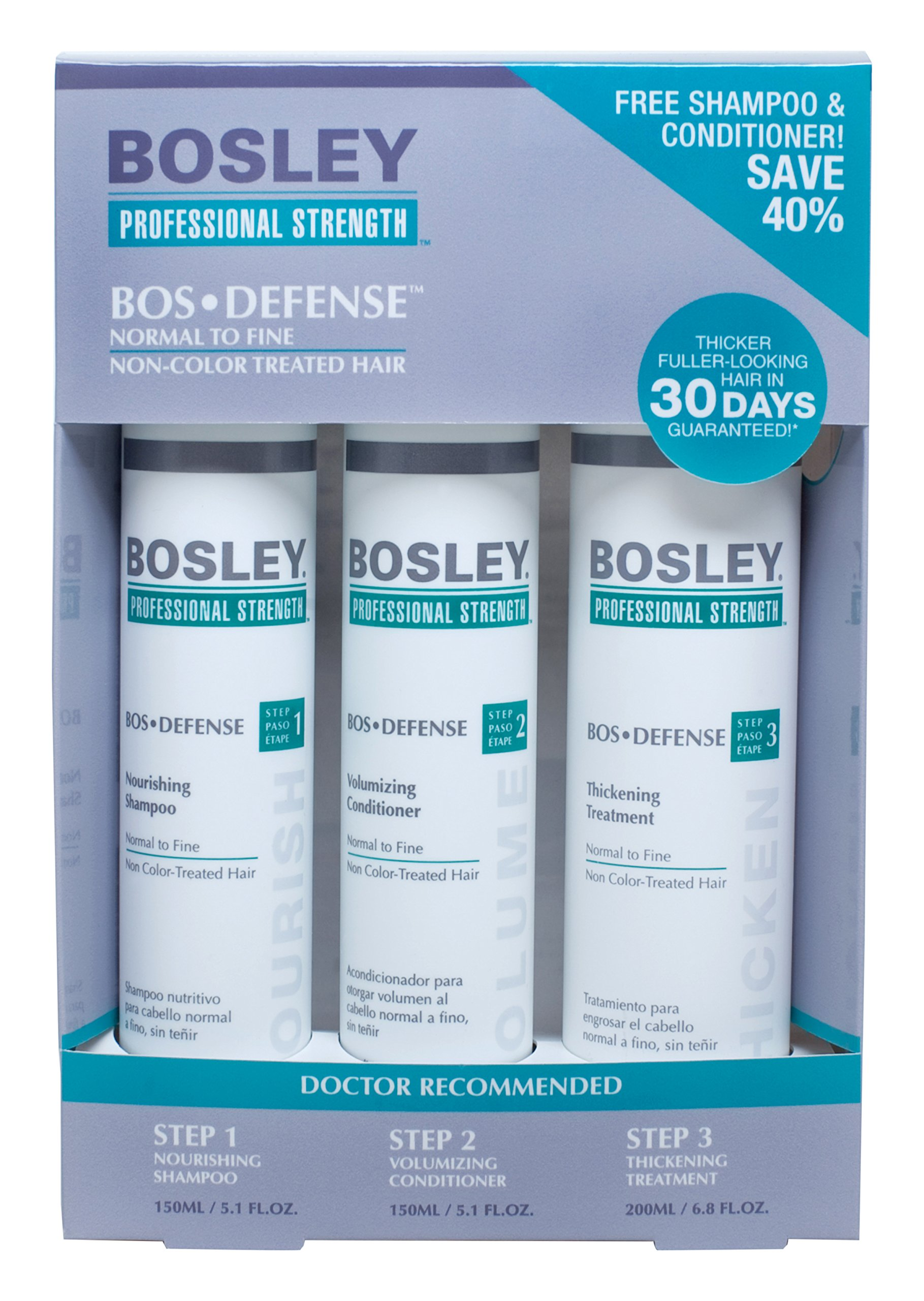 Bosley Professional Strength BOSDefense Starter Pack For Non Color-Treated Hair by Bosley Professional Strength