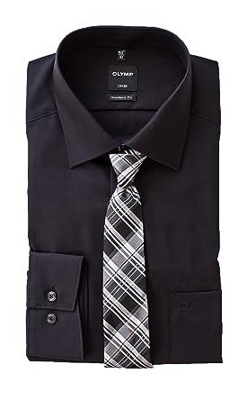 OLYMP Hemd, Schwarz Modern Fit mit passender Krawatte, Bügelfrei (38)