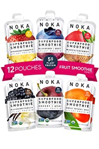 NOKA Superfood Smoothie Pouches 12 Pack (Variety) | 100% Organic Healthy Fruit And Veggie Squeeze Snack Packs | Meal Replacement | Non GMO, Gluten Free, Vegan, 5g Plant Protein | 4.2oz Each