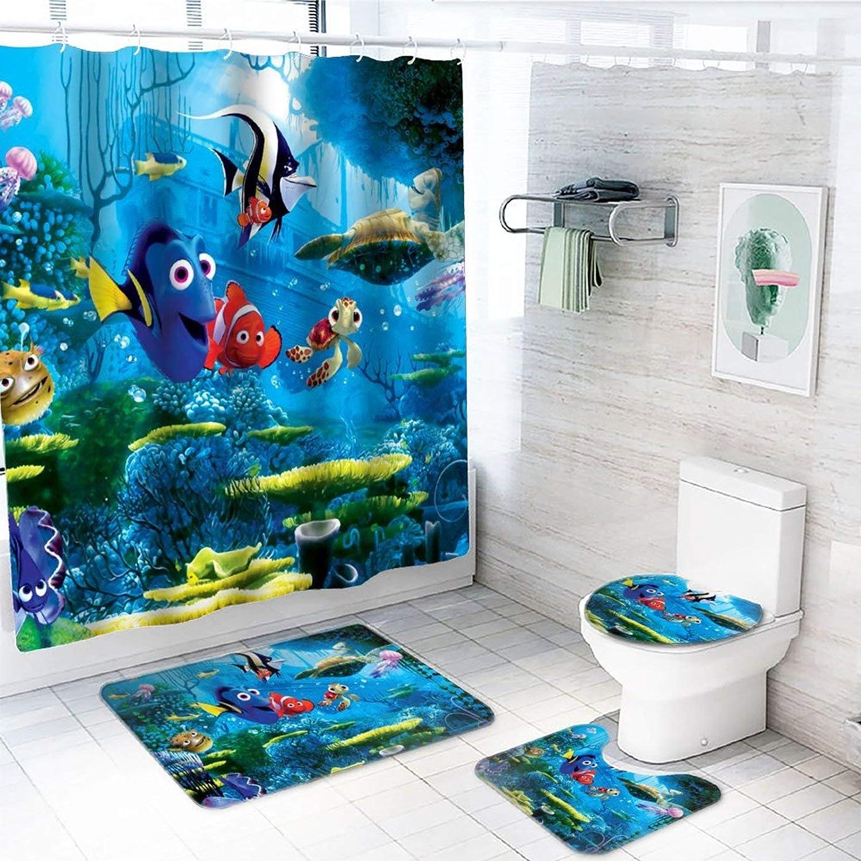 GEHIYPA Fin-ding Ne-mo Four-Piece Bathroom Shower Curtain Non-Slip Bath mat, Including Square Non-Slip Floor mat, U-Shaped mat, Toilet lid Cover mat, and a Shower Curtain(4-Piece Set)