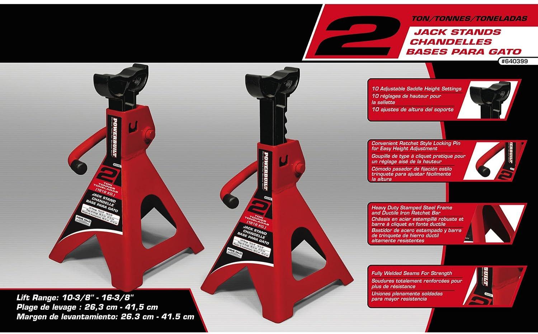 2 Piece Powerbuilt 647529 Heavy Duty 4-Ton Jack Stand