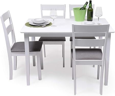 Conjunto de Comedor Kansas & Dallas White Mesa de Comedor de Madera lacada en Blanco de 112x72 cm y 4 sillas de Comedor de Madera lacadas en Blanco y Asiento tapizado de Tela Gris