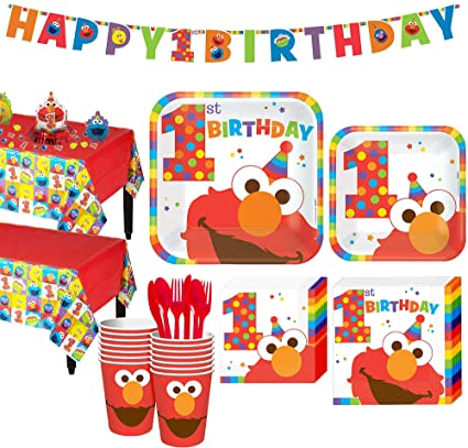 Amazon Party City 1st Birthday Elmo Kit For 16 Guests