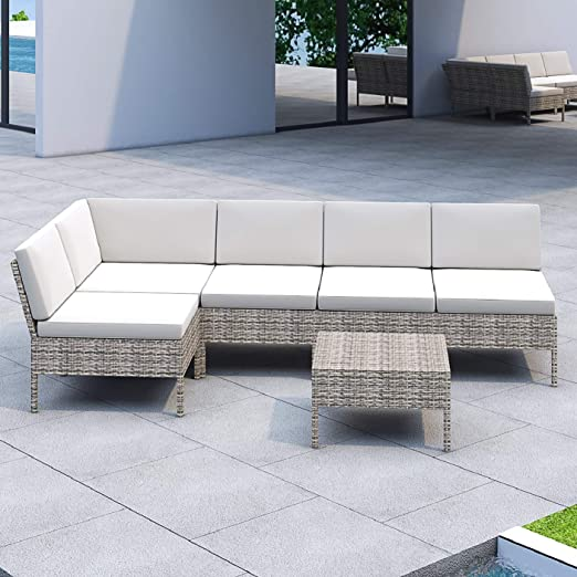 Lokatse Home 6 Pieces All Weather Rattan Patio Sectional Sofa Set Wicker Outdoor Furniture With 3 Pillows Coffee Table Beige Garden Outdoor Amazon Com