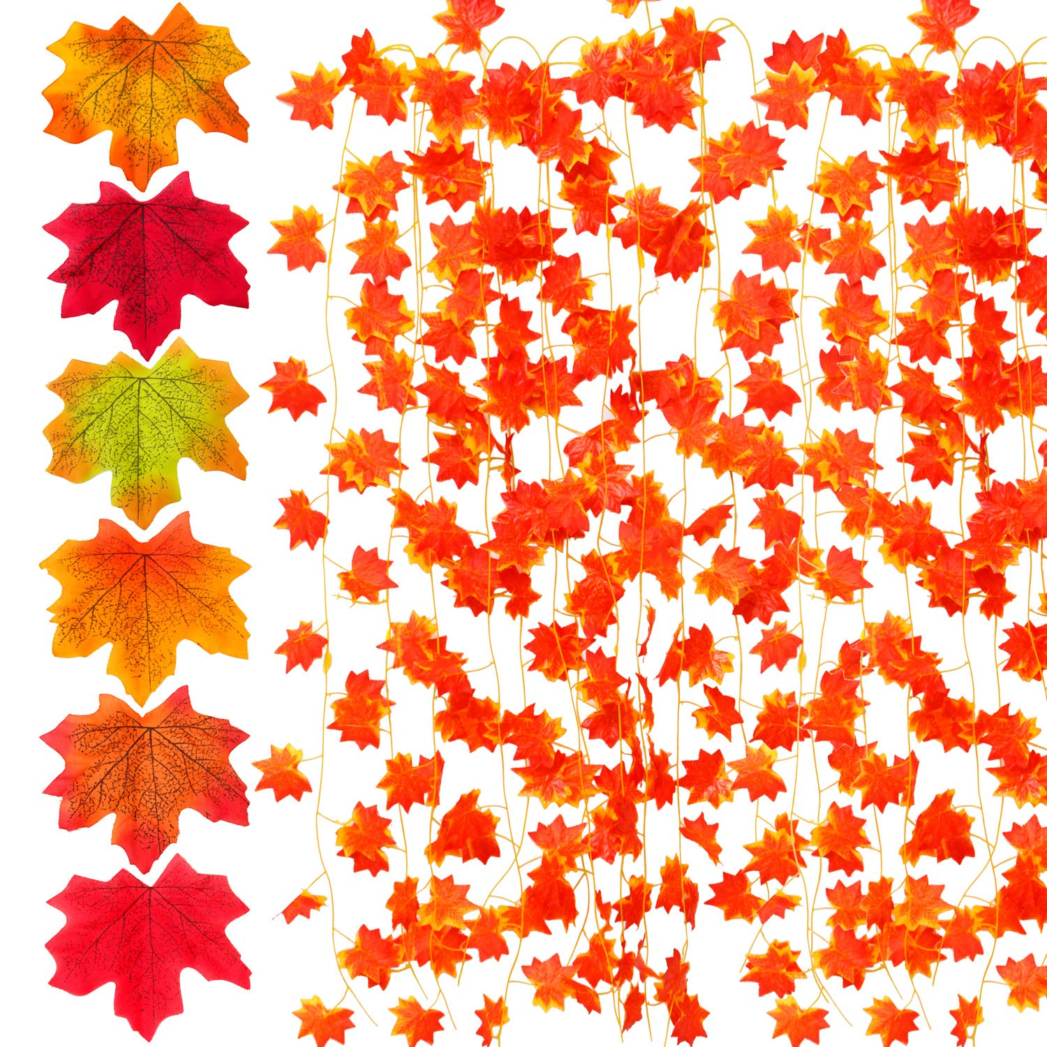 Elcoho Autumn Artificial Maple Leaf Garland 6 Pack and 300 Pieces 6 Colors Artificial Maple Leaves for Weddings Christmas Party Decorations