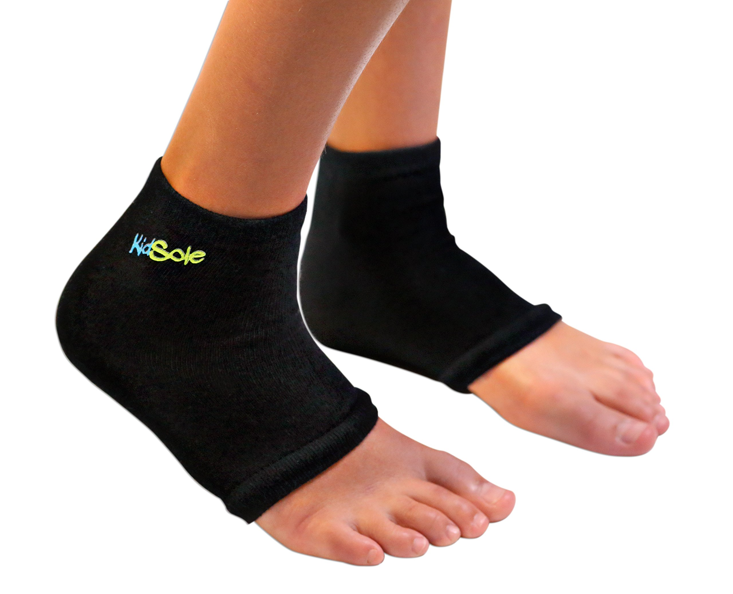KidSole RX Gel Sports Sock for Kids with Heel Sensitivity from Severs Disease, Plantar Fasciitis. US Kid's Sizes 2-7 (Black) by KidSole