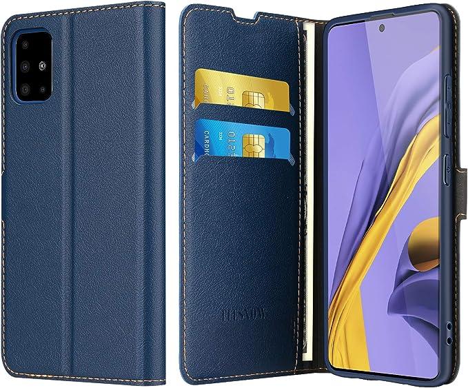 ELESNOW Funda Samsung Galaxy A51, Cuero Premium Flip Folio Carcasa Case para Samsung Galaxy A51 (Azul Marino): Amazon.es: Electrónica