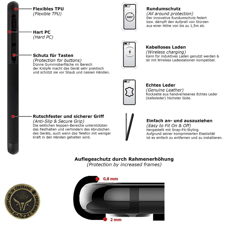 GAZZI Huawei P40 LITE H/ülle Case Schale BackCover Lederh/ülle Handyh/ülle Schutzh/ülle Echt Leder Rundumschutz Flexible Schale VINTAGE GRAU
