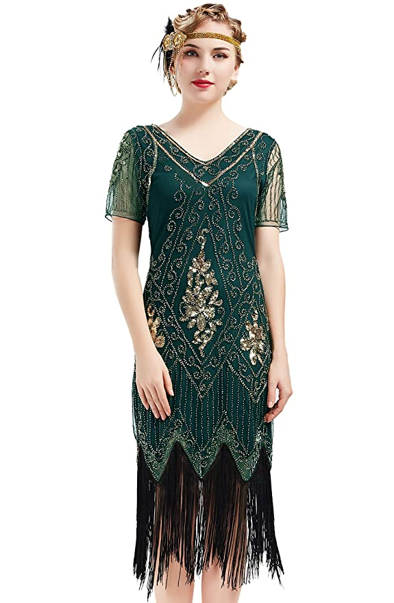 1920s Fashion & Clothing | Roaring 20s Attire BABEYOND 1920s Art Deco Fringed Sequin Dress 20s Flapper Gatsby Costume Dress $45.99 AT vintagedancer.com