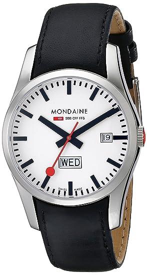 Mondaine A667.30340.11SBB - Reloj de caballero de cuarzo (suizo), correa de piel color plata: Amazon.es: Relojes