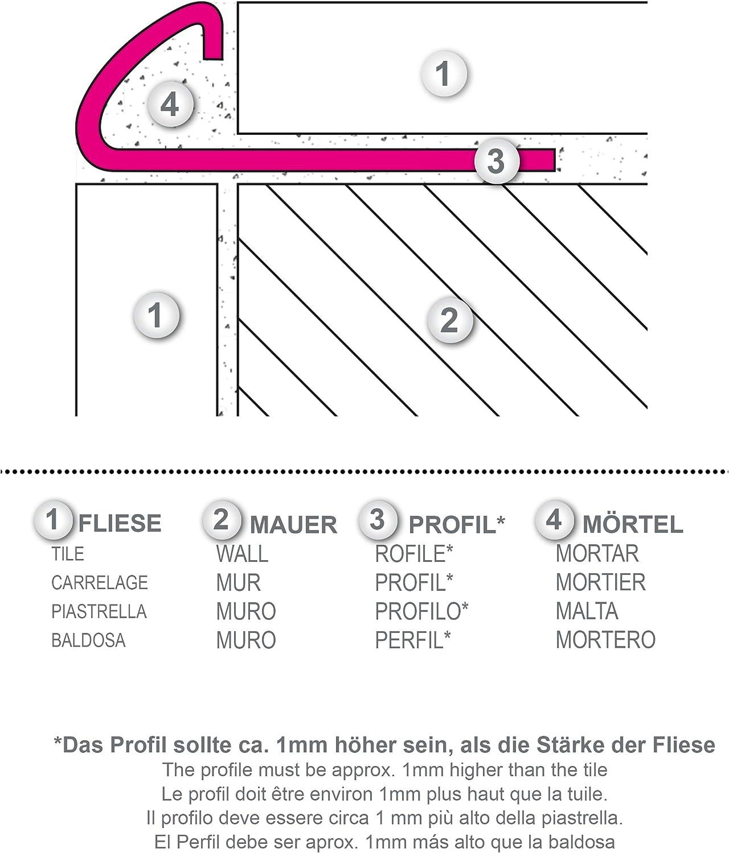 1mm St/ärke 125 METER H/öhe: 10mm PREMIUM FUCHS Fliesenschiene Viertelkreisprofil Aluminium Eloxiert silber matt 250cm Schiene