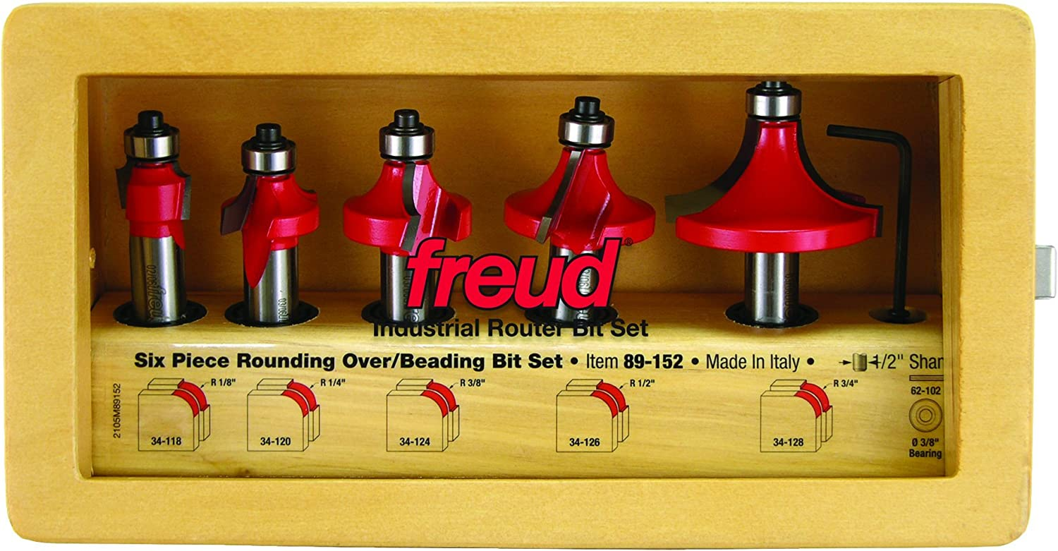 89-152 1//2 Shank Freud 5 Piece Round Over//Beading Bit Set