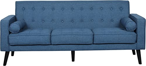 Container Furniture Direct S5301-L Valadez Linen Upholstered Tufted Mid-Century Modern Loveseat with Bolsters, Ocean Blue