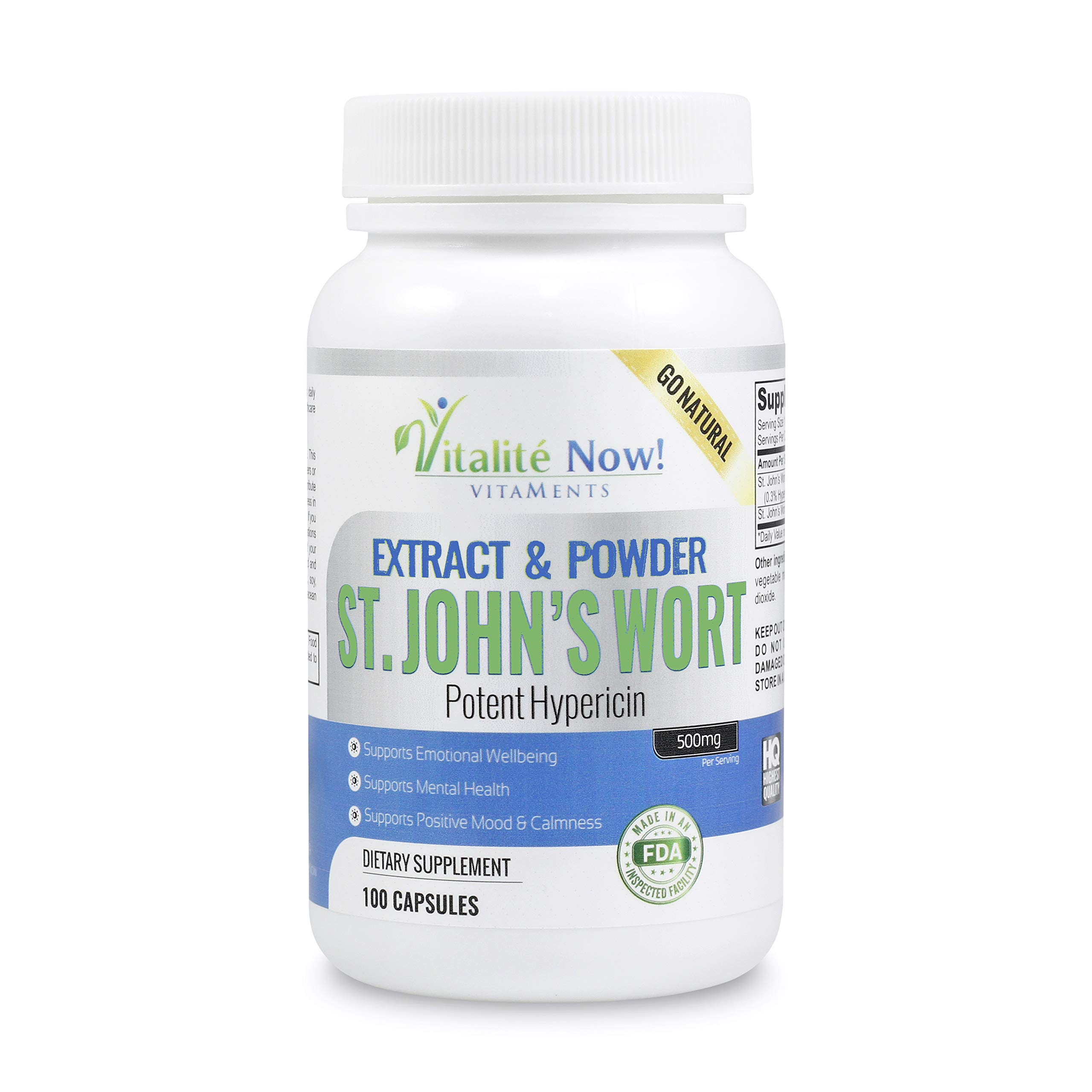 Calming St. John's Wort Extract & Whole Flower - Promotes Emotional Wellbeing, Mental Health, Relaxation, Positive Mood - 500mg Extract & Powder - 900mcg Hypericin - Non-GMO - 100 Pills