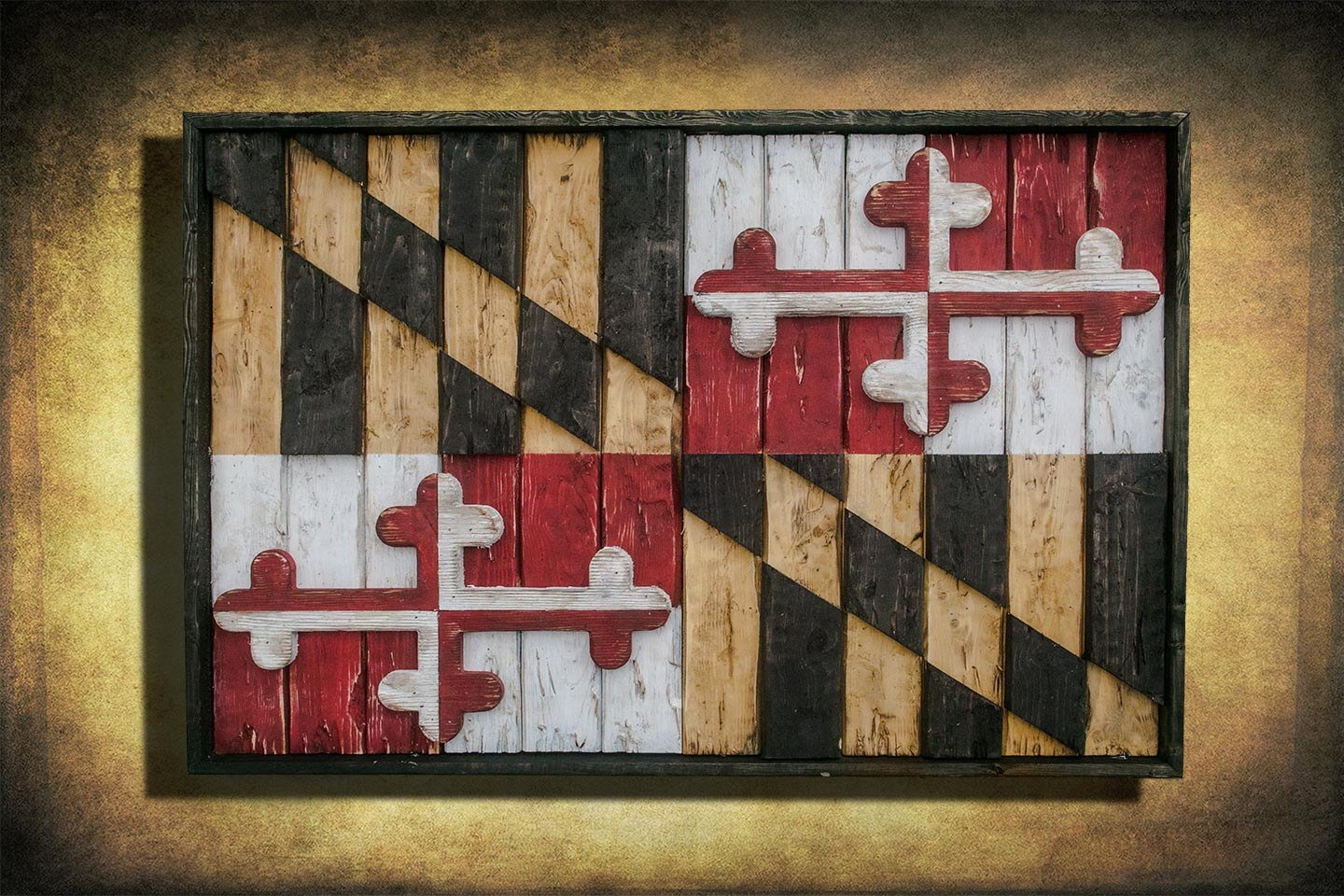 Maryland Flag, Limited Edition, Weathered Wood One of a kind , Wooden, vintage, art, distressed, weathered, recycled, Baltimore, red, yellow by Chris Knight Creations