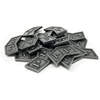 Citadel Black MTG Buff Counters +1/+1 and -1/-1 Set of 20 Metal Tokens - with Velvet Drawstring Pouch, Antique Silver…