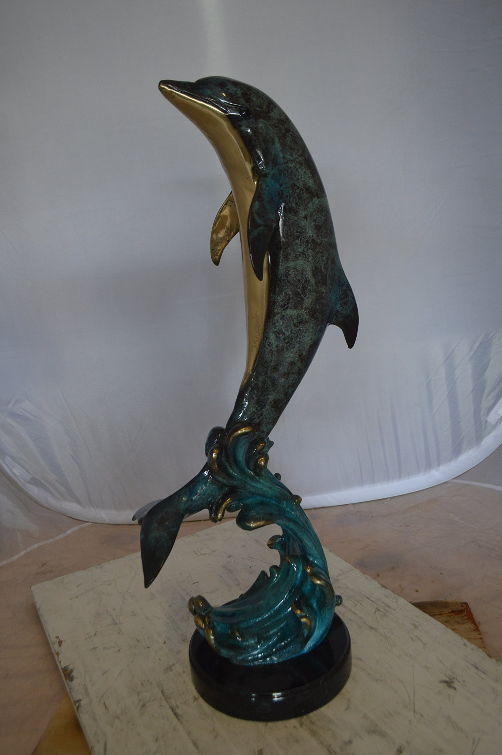 Bronze Statue Dolphin Fountain On A Marble Base Size: 12'' L x 8'' W x 30'' H.
