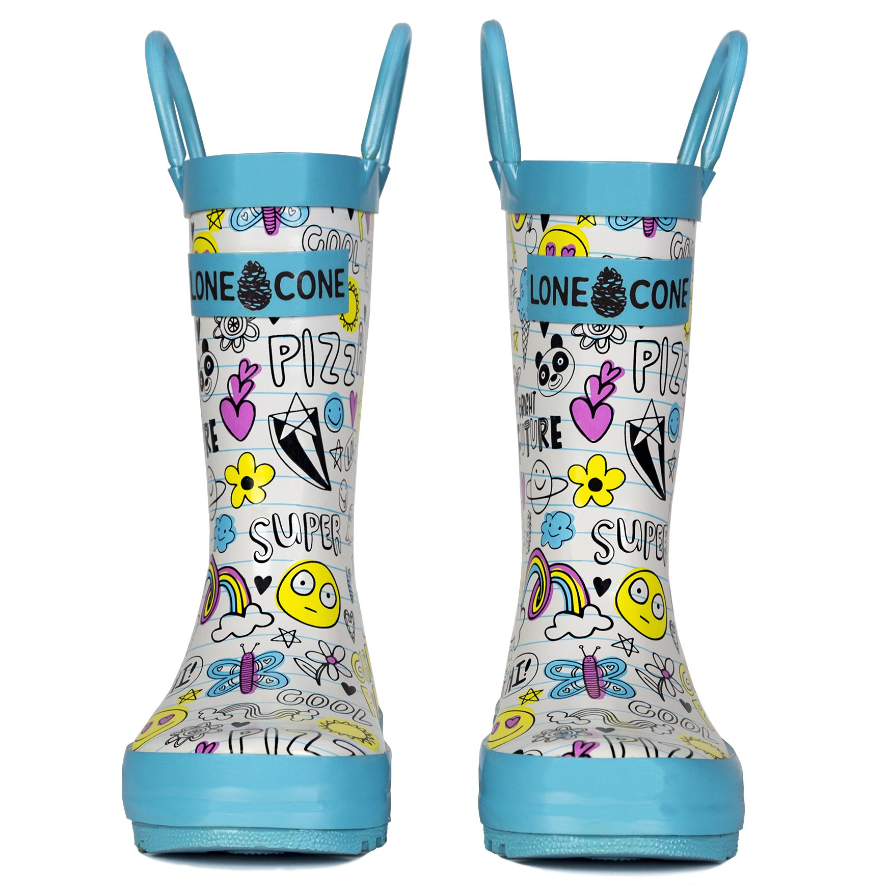 LONECONE Children's Waterproof Rubber Rain Boots in Fun Patterns with Easy-On Handles Simple for Kids, Oodles of Doodles, Toddler 8 by LONECONE (Image #4)