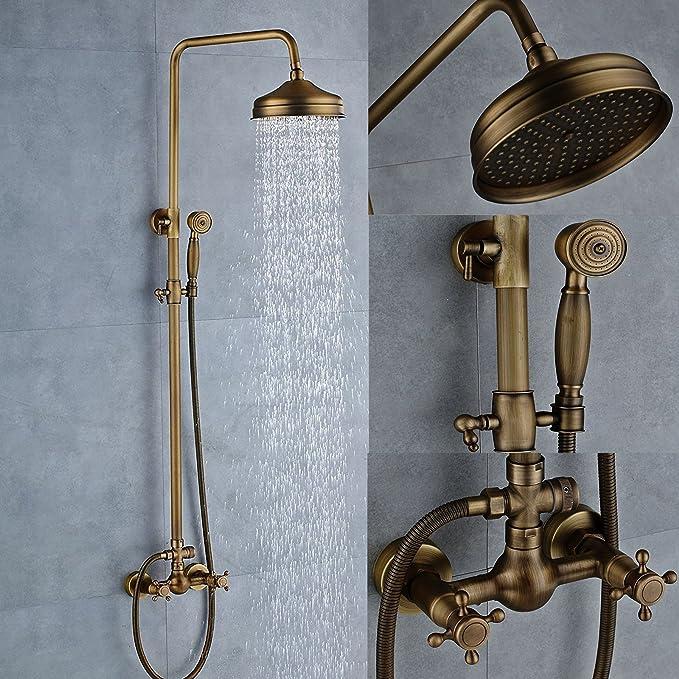 Senlesen Antique Brass Bathtub Mixer Faucet 8-inch Rainfall Shower ...