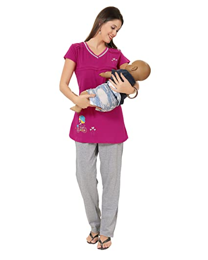 AV2 Women Cotton Solid Feeding/Nursing/Maternity Top & Pyjama Set Sets at amazon