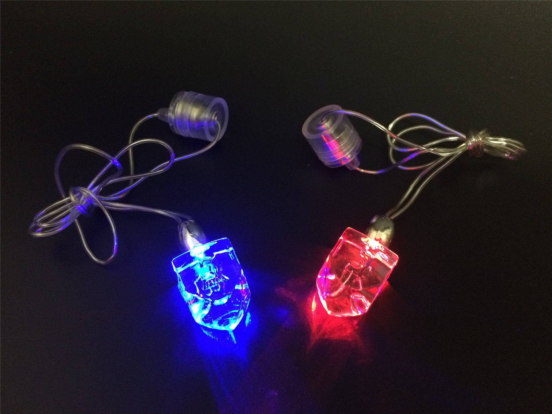 50 Hanukkah Glow in the Dark LED Dreidel Necklace & Light Up Decoration for Chanukah Party by JewishInnovations.com