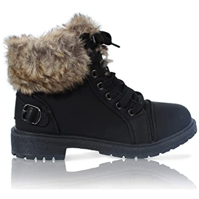 LADIES FAUX FUR GRIP SOLE WINTER WARM ANKLE WOMENS BOOTS TRAINERS SHOES  SIZE 38