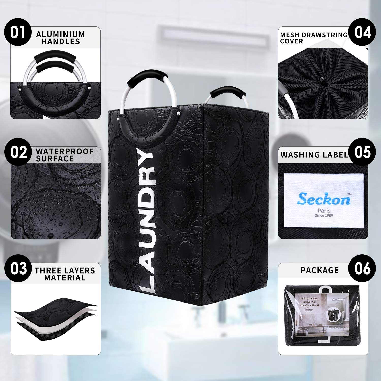 Seckon Large Waterproof Laundry Basket Hamper Bag with 3 Thick Layers Material and Portable Aluminium Alloy Handles