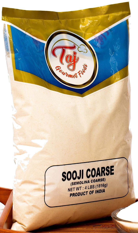 TAJ Premium Sooji Coarse (Farina, Suji, Rava, Semolina) Granulated Wheat, 4-Pounds