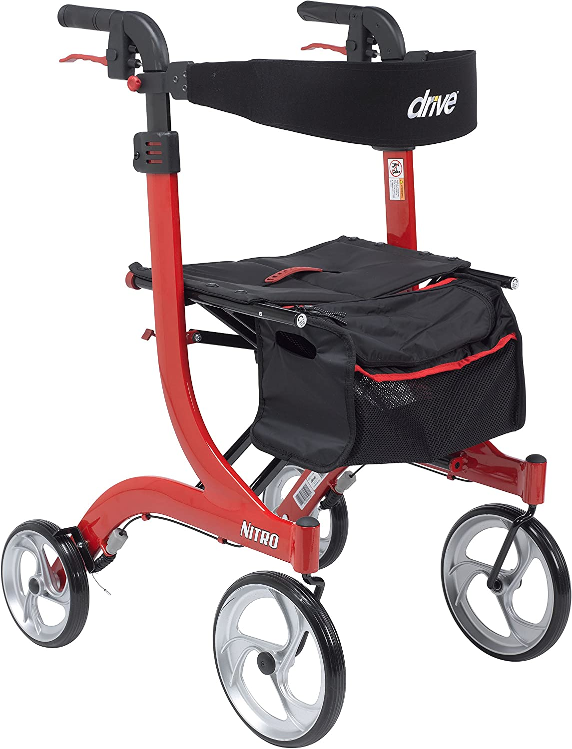 Drive Medical RTL10266-T Nitro Euro Style Walker Rollator, Tall, Red 81zqIGs9xxLSL1500_