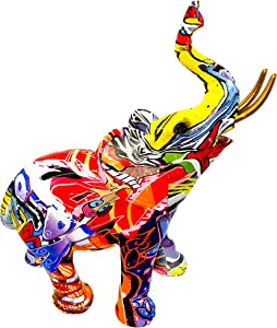 Colorful Graffiti Art Elephant Sculptures - Modern Large Elephant Statues for Kitchen Office Shelf Home Decor Made from Durable Resin Elephant Home Decor Figurines (Elephant)