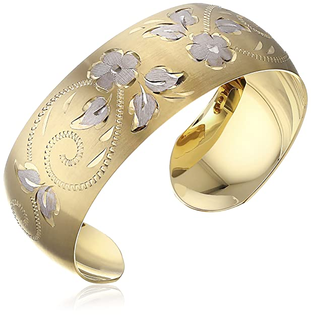 Gold Hand Engraved flowers Cuff Bracelets