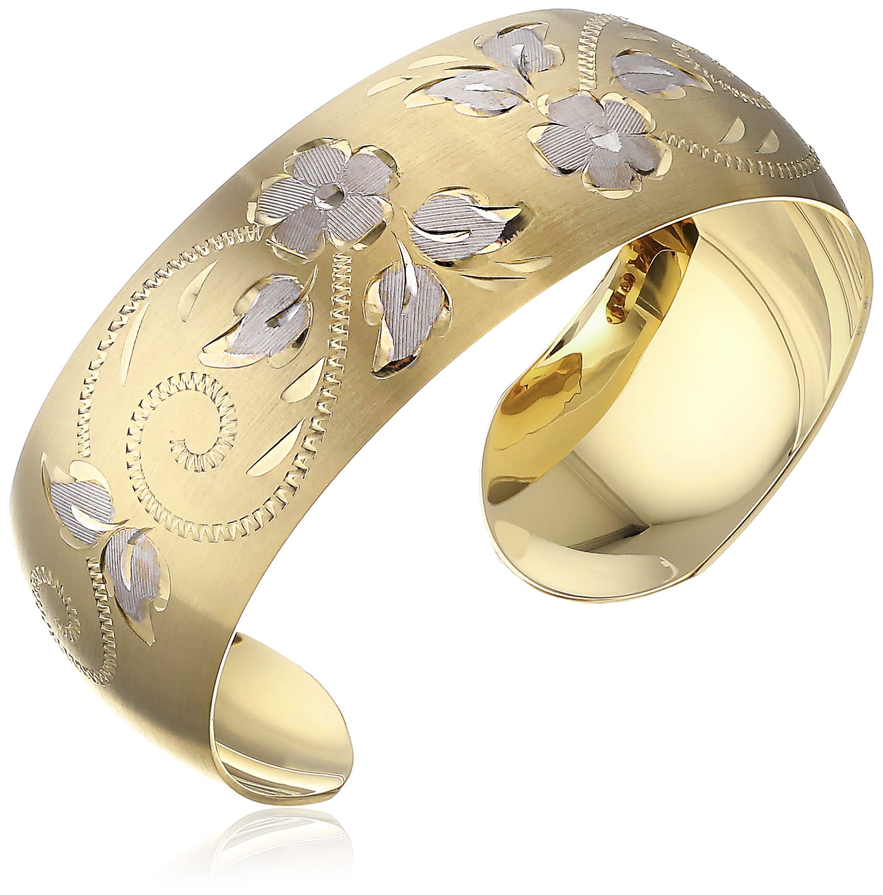 14k Yellow Gold-Filled Hand Engraved Cuff Bracelet by Amazon Collection