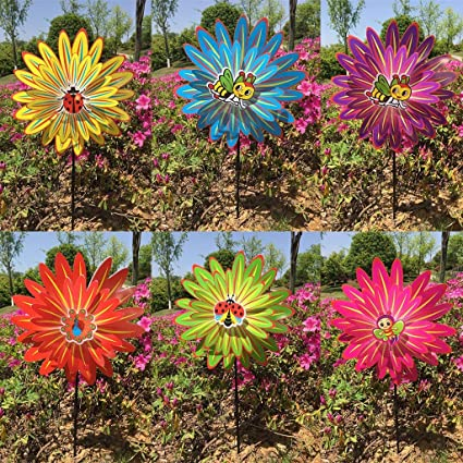 Thobu Childrens Day Gift Baby Kids Toys Gifts Colorful Rainbow Dazy Flower Spinner Wind Windmill Garden Yard Outdoor Decor